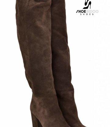 Sanctum Shoes Lange knie laarzen met hoge blokhakken in suede zonder rits -OUTLET