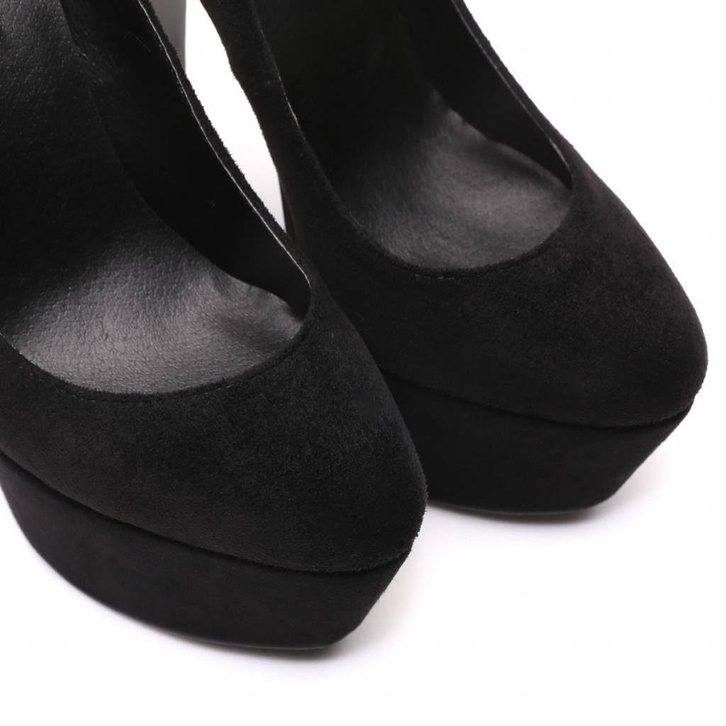 "Giaro Black velor Giaro ""Destroyer"" platform pumps with high thick heels"