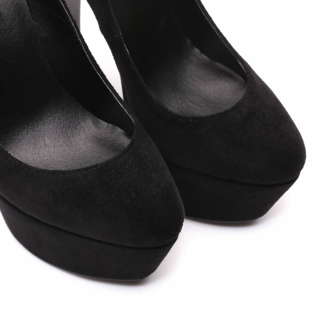 "Giaro Black velour Giaro ""Destroyer"" platform pumps with high thick heels"