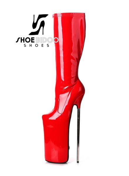 Giaro FLY OVER | RED SHINY | PLATFORM KNEE BOOTS 30CM