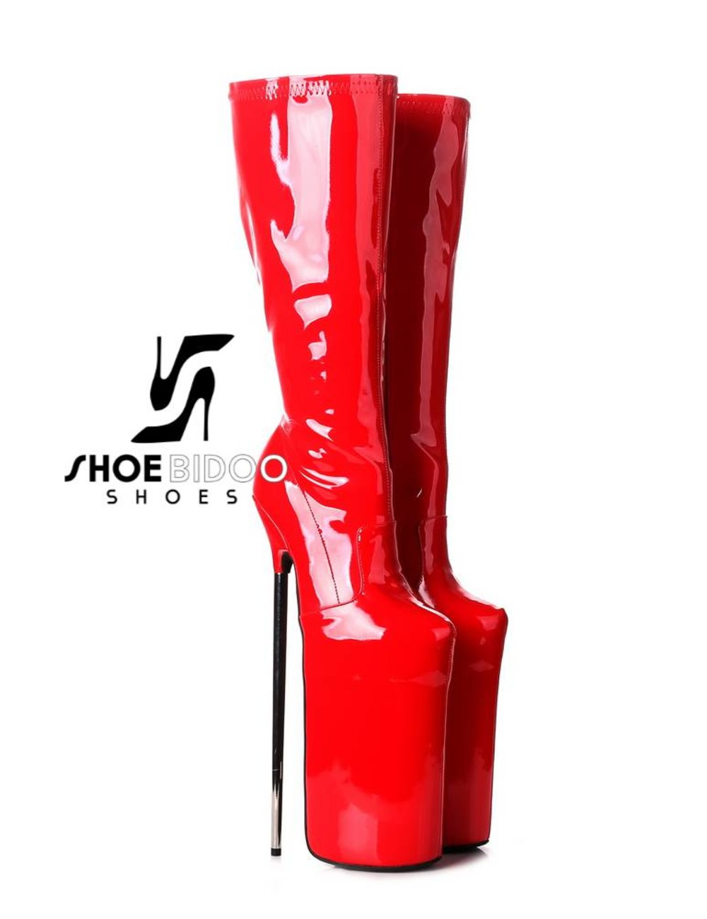 Giaro Red patent fetish monster knee boots with ultra high silver metal heels
