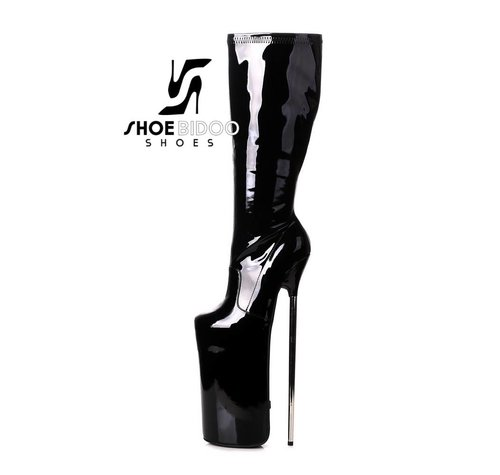 Giaro FLY OVER | BLACK SHINY | PLATFORM KNEE BOOTS 30CM