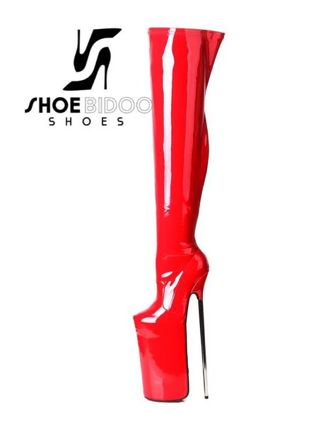 Giaro FLY HIGH | RED SHINY | PLATFORM THIGH BOOTS 30CM