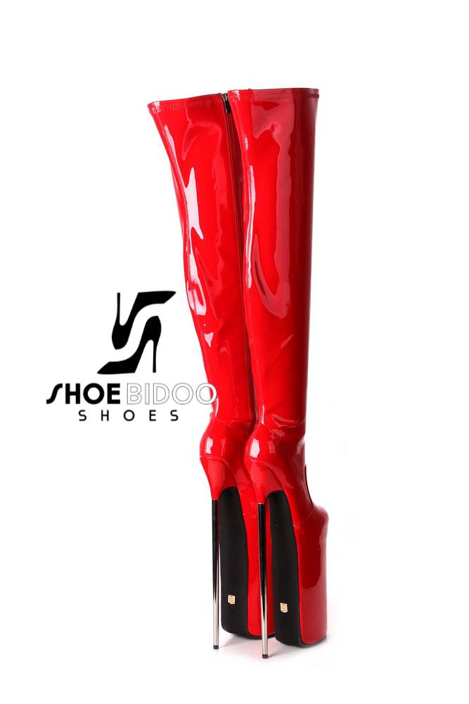 Giaro Red patent fetish monster thigh boots with ultra high silver metal heels