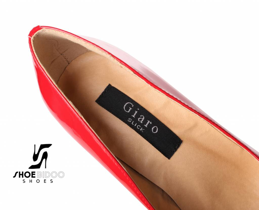 Giaro Rode lak fetish monster pumps met ultra hoge zilver metalen hakken