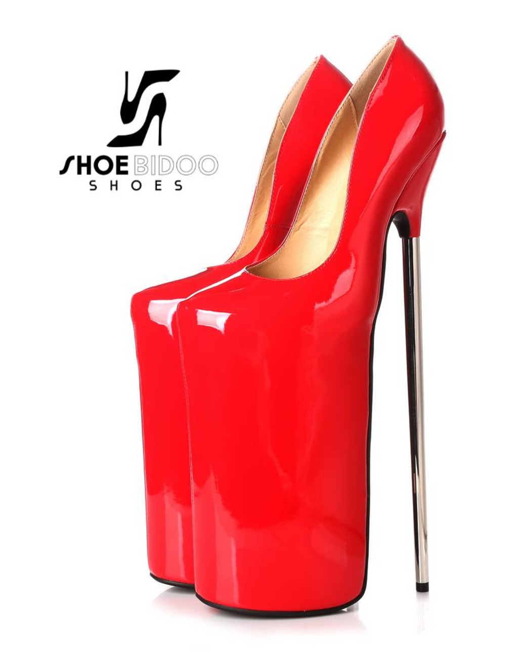 Giaro Red patent fetish monster pumps with ultra high silver metal heels
