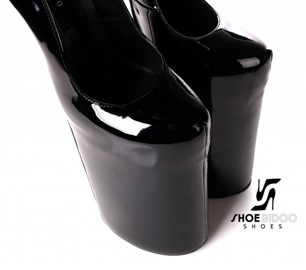 Giaro Black patent fetish monster pumps with ultra high silver metal heels