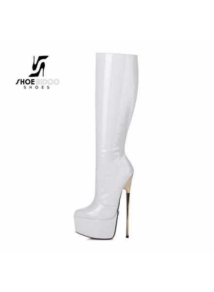 Giaro HERO 1003 | WHITE SHINY | PLATFORM KNEE BOOTS