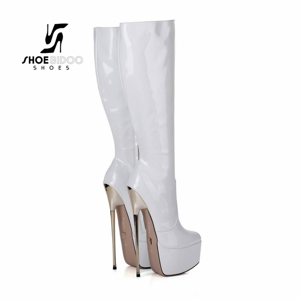 Giaro White lacquer platform knee boots with ultra high gold metal heels