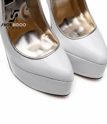 Giaro SLICK White lacquer platform pumps with ultra high gold metal heels