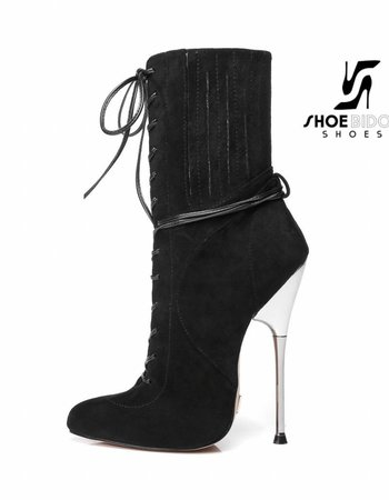 Giaro BURN IT | BLACK VELOUR | SILVER METAL HEEL ANKLE BOOTS