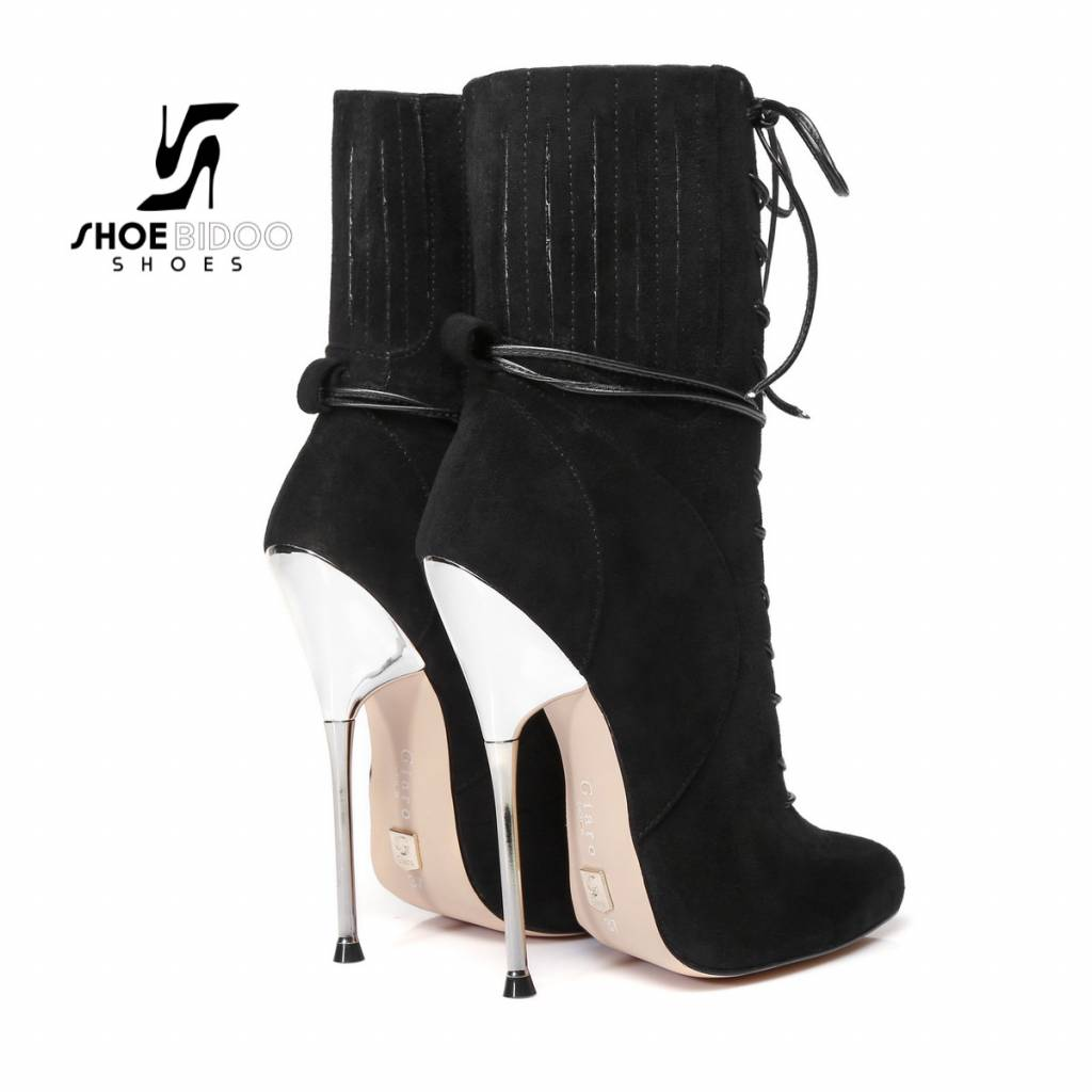Giaro Black suede ankle boots with ultra high silver metal heels and lacing