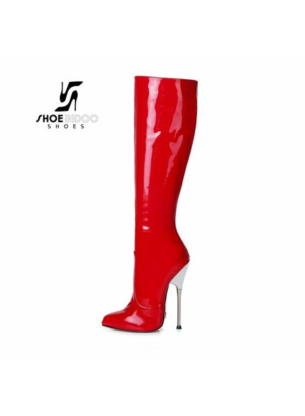 Giaro BE BRAVE | RED SHINY | SILVER METAL HEEL KNEE BOOTS