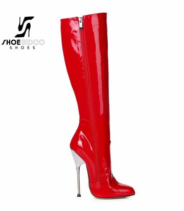 Giaro Red patent knee boots with ultra high silver metal heels