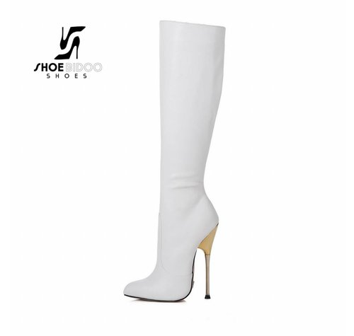 Giaro BE BRAVE | WHITE MATTE | GOLD METAL HEEL KNEE BOOTS