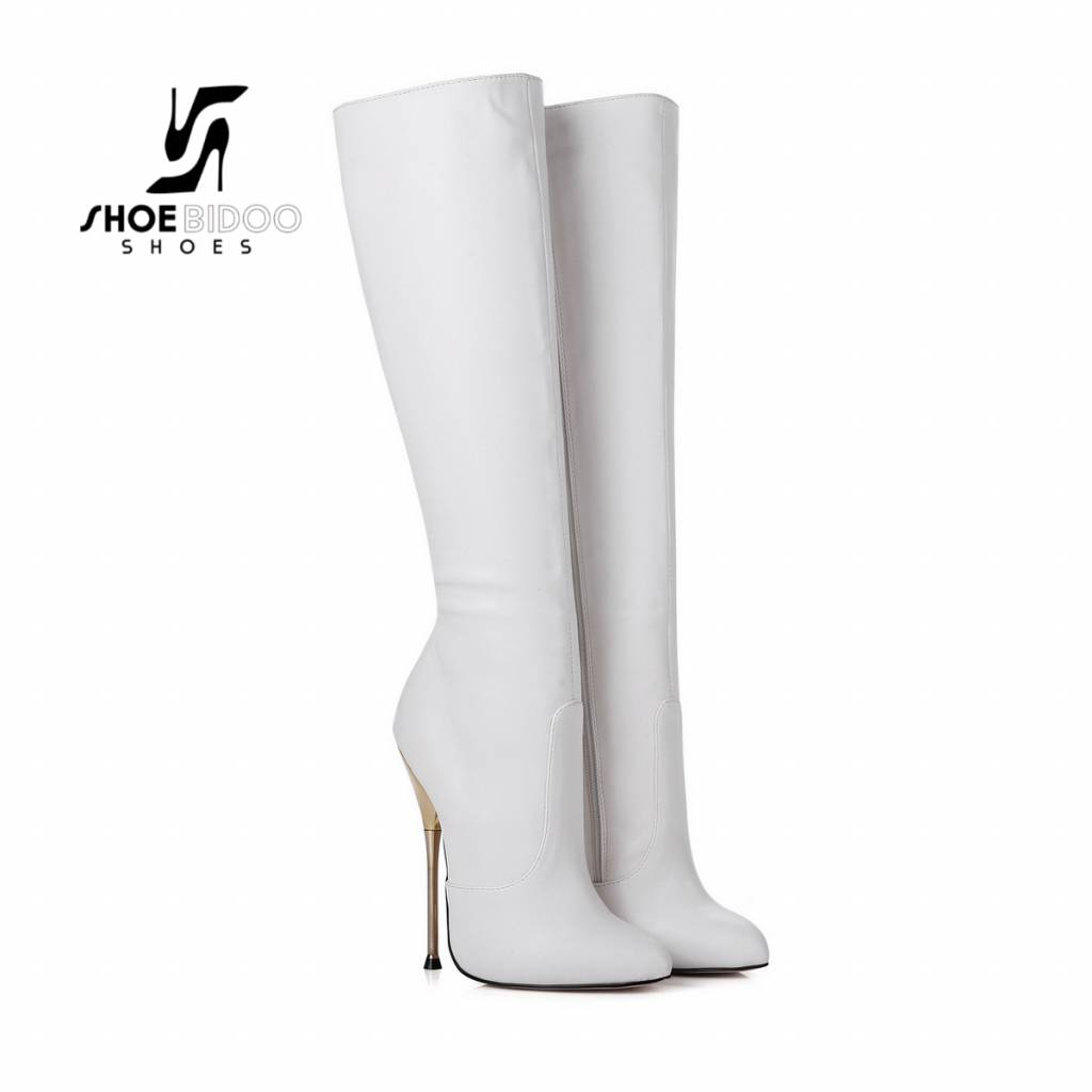 Giaro White knee boots with ultra high silver metal heels