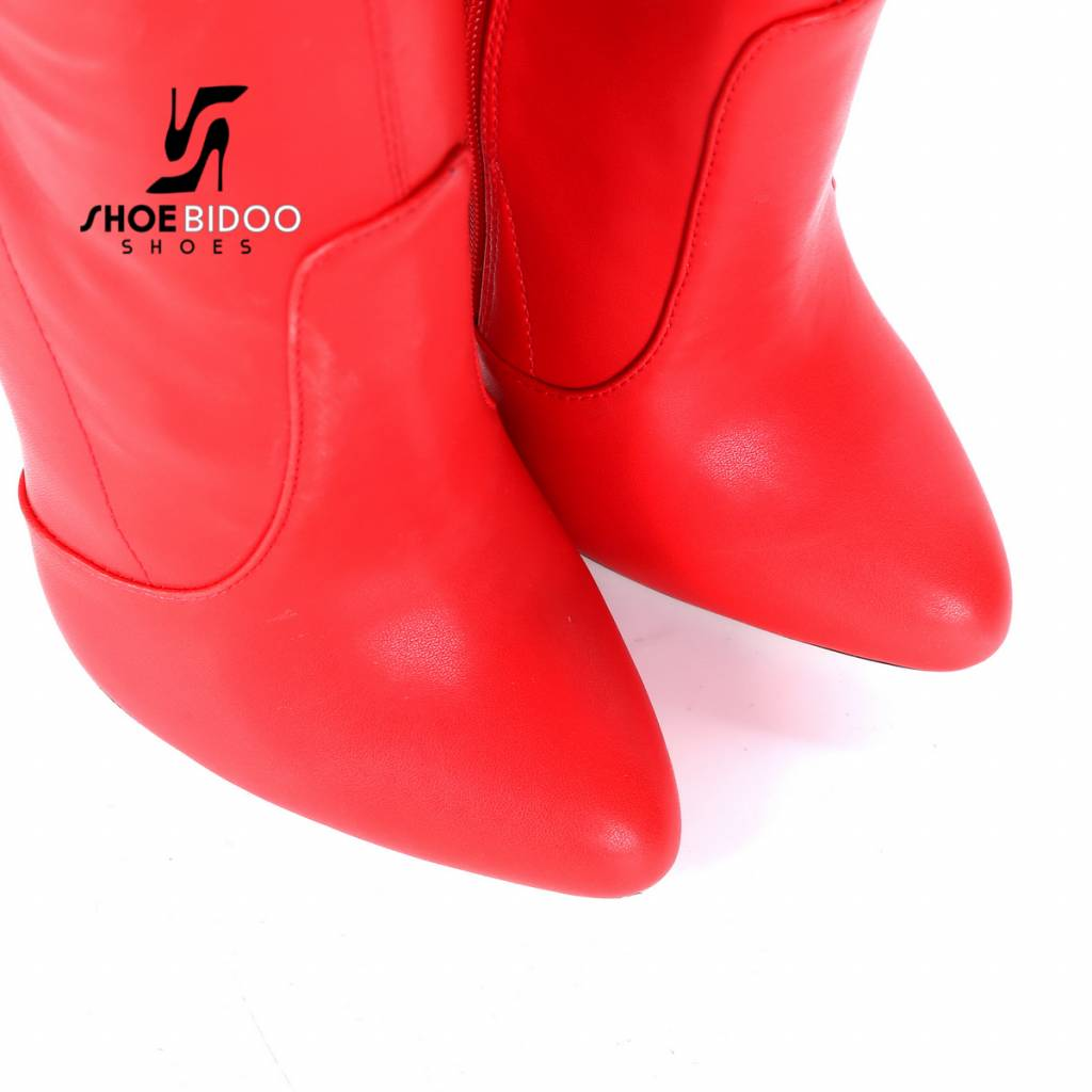 Giaro Red thigh boots with ultra high silver metal heels