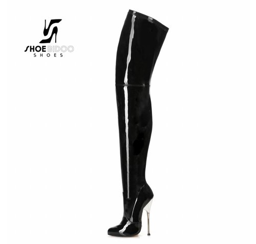 Giaro BIGGER | BLACK SHINY | SILVER METAL HEEL THIGH BOOTS