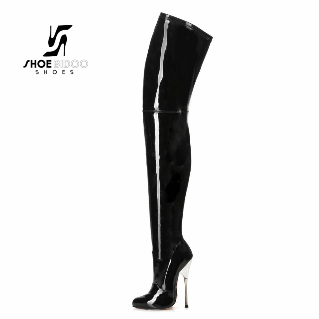 04970a44598 Black patent Giaro high silver metal heeled fetish thigh boots