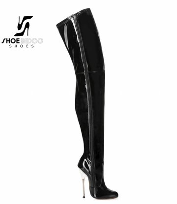 Giaro Black patent thigh boots with ultra high silver metal heels