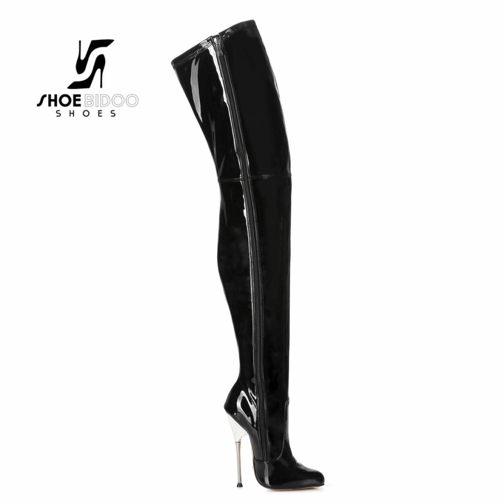 813bf5184da Giaro Black patent thigh boots with ultra high silver metal heels