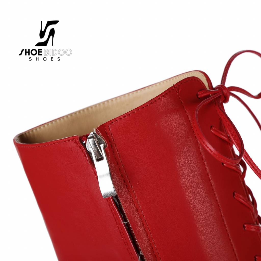 Giaro Red lace-up boots with ultra high gold metal heels
