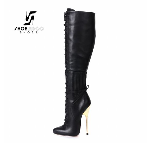 Giaro BRAINBUSTER | BLACK MATTE | GOLD METAL HEEL KNEE BOOTS