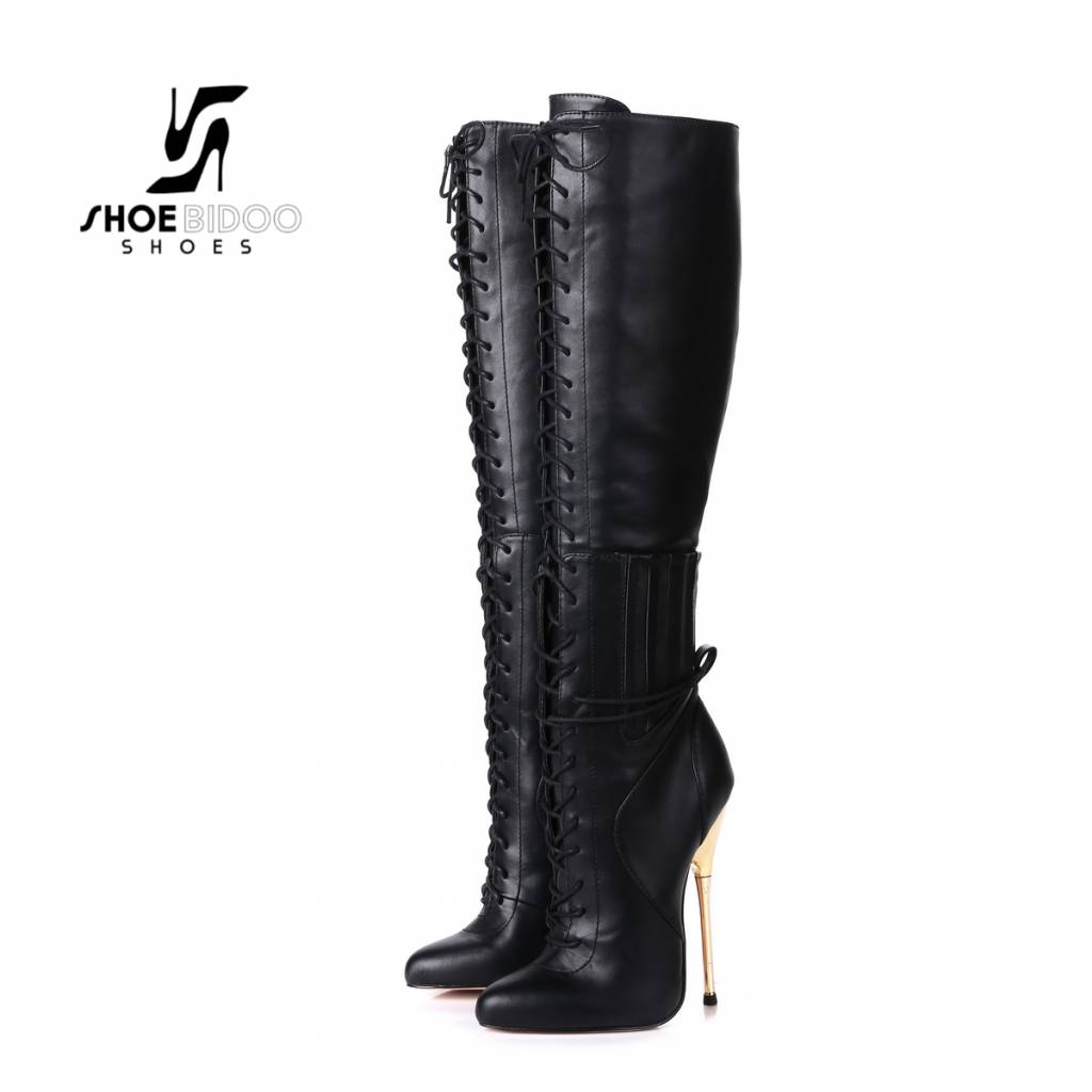 Giaro Black lace-up boots with ultra high gold metal heels