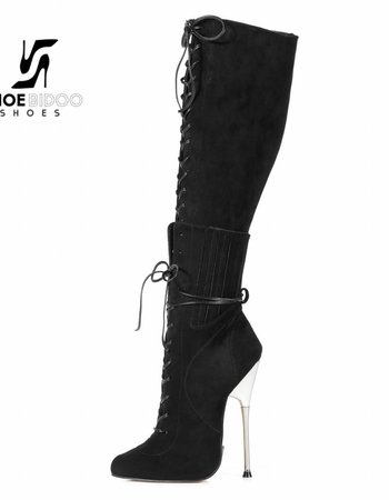 Giaro BRAINBUSTER | BLACK VELOUR | SILVER METAL HEEL KNEE BOOTS