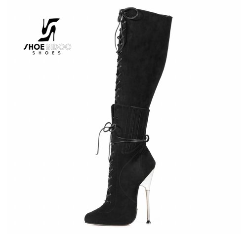 Giaro BRAINBUSTER | BLACK VELOUR | SILVER METAL HEEL KNEE BOOTS-OUTLET