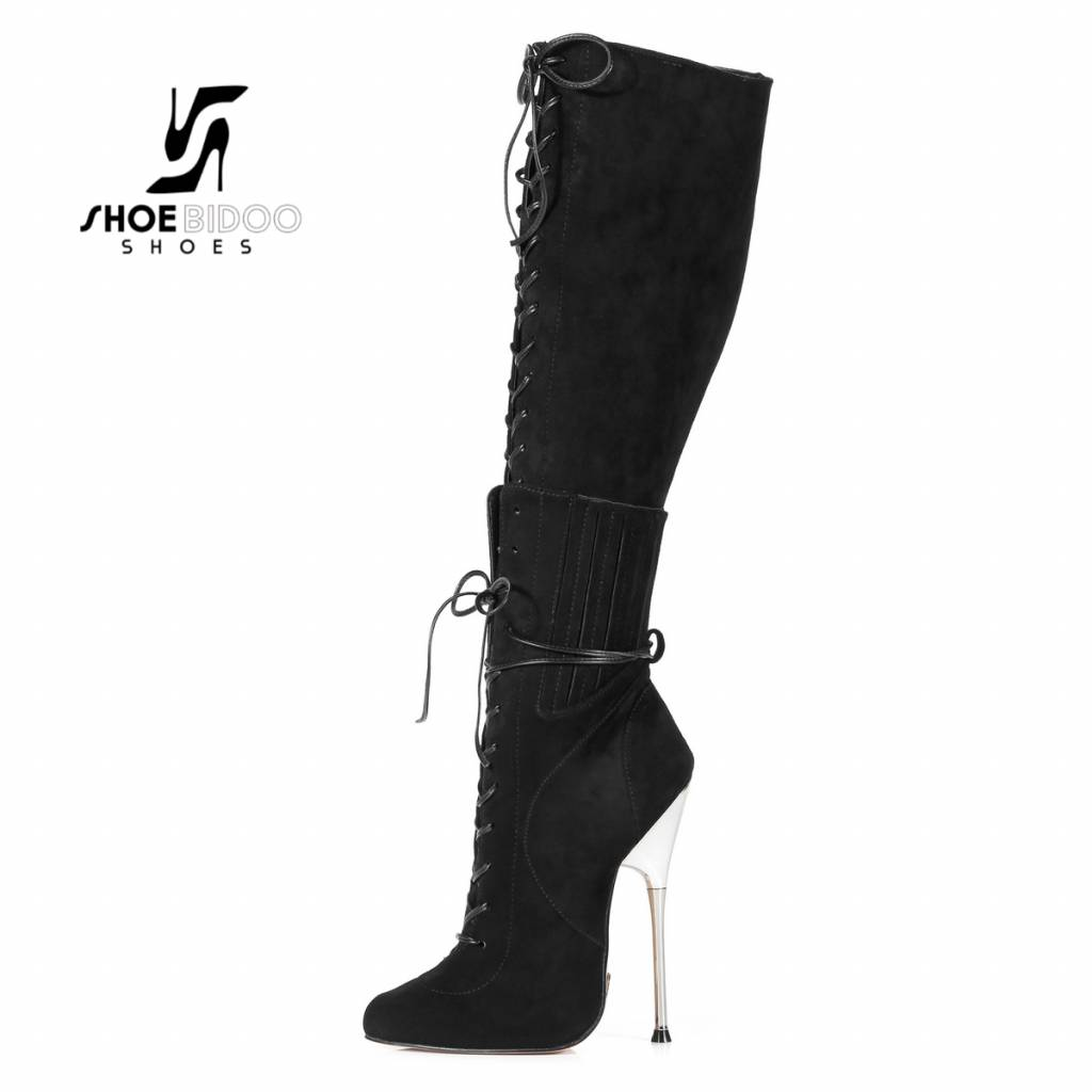 Giaro Black suede lace-up boots with ultra high silver metal heels
