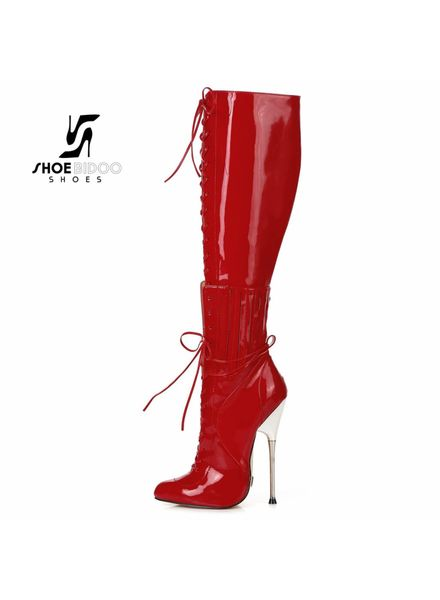 Giaro BRAINBUSTER | RED SHINY | SILVER METAL HEEL KNEE BOOTS
