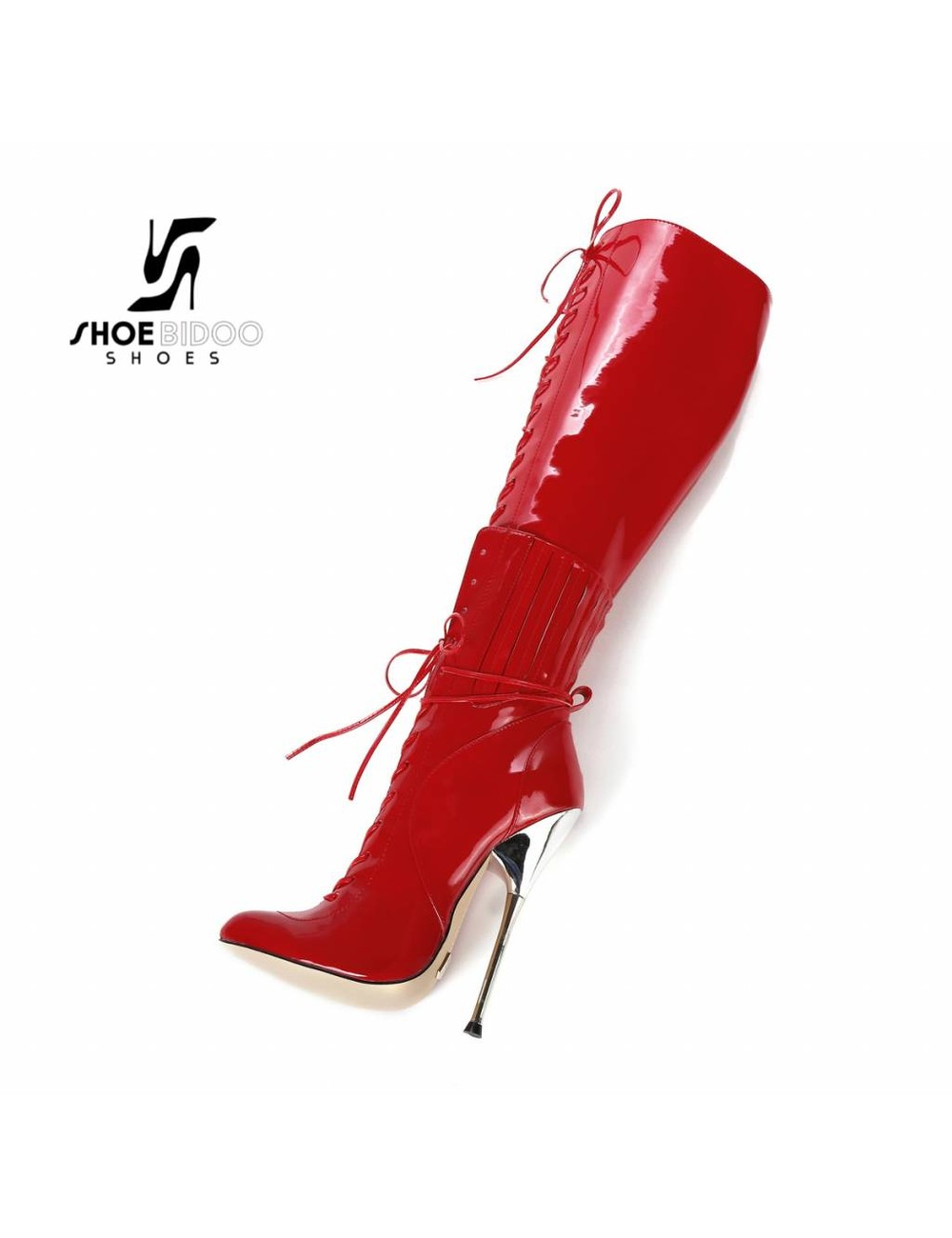 Giaro Red patent lace-up boots with ultra high silver metal heels