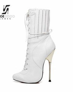 Giaro BURN IT | WHITE MATTE | SILVER METAL HEEL ANKLE BOOTS