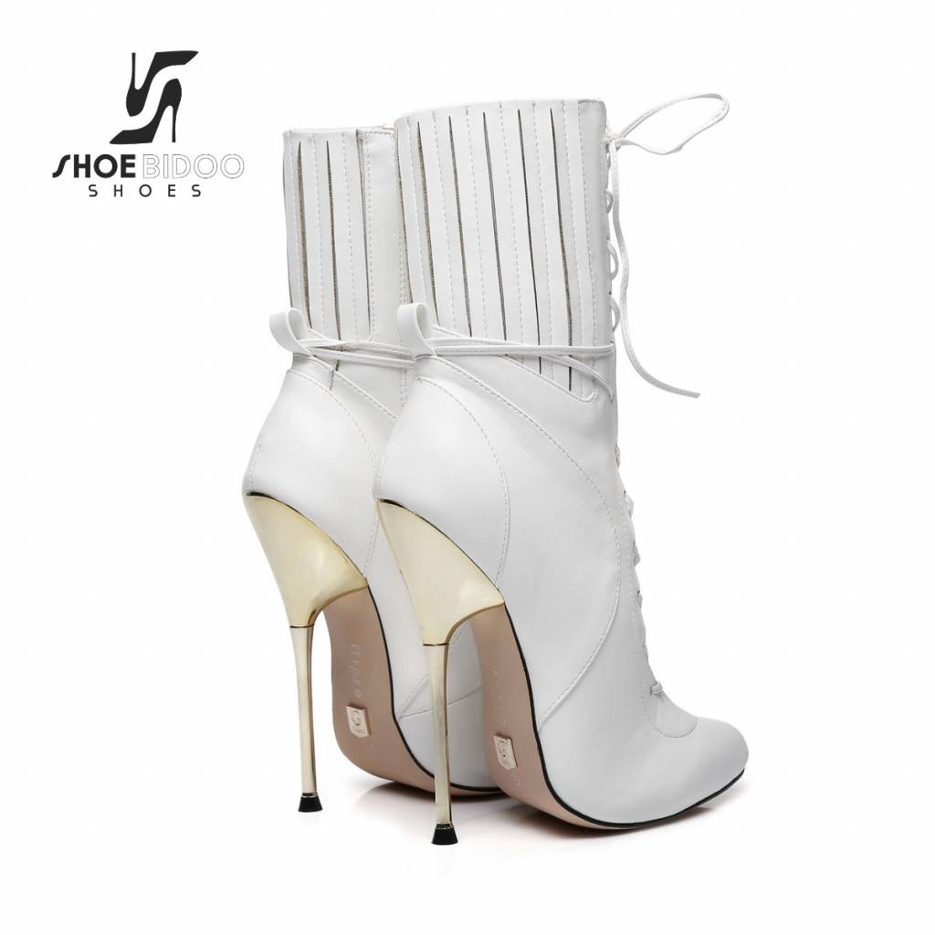 Giaro White ankle boots with ultra high silver metal heels and lacing