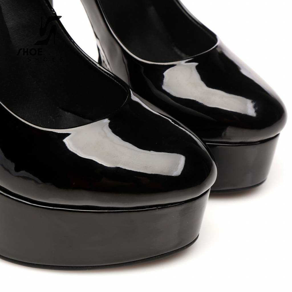 "Giaro Black  shiny Giaro ""Galana"" platform pumps"