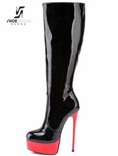 Giaro GALANA 1003 | BLACK RED SHINY | PLATFORM KNEE BOOTS