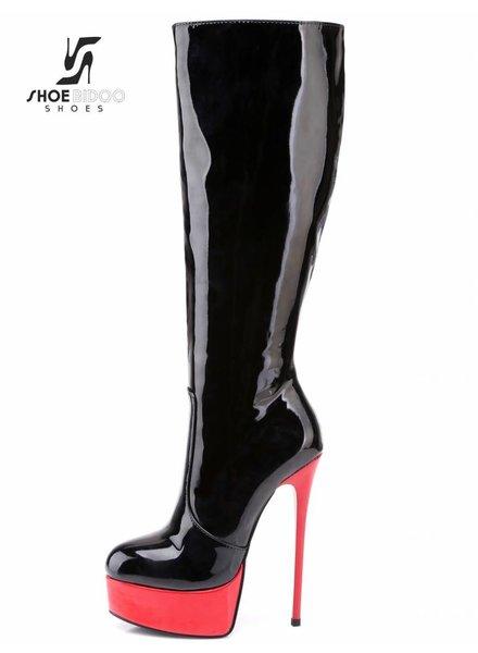 Giaro GALANA 1003 | BLACK RED SHINY | PLATFORM KNEE BOOTS
