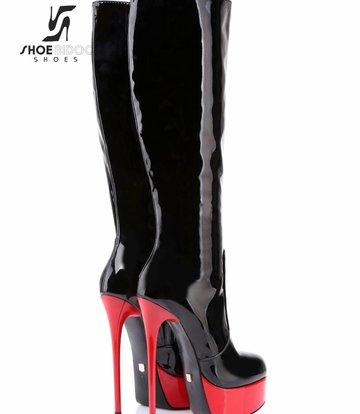 Giaro Lak zwart/rode platform knielaarzen met ultra hoge hakken