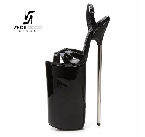 Giaro FLY OPEN | BLACK SHINY | PLATFORM SANDALS 30CM