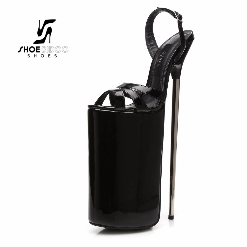 Giaro Black patent fetish monster sandals with ultra high silver metal heels