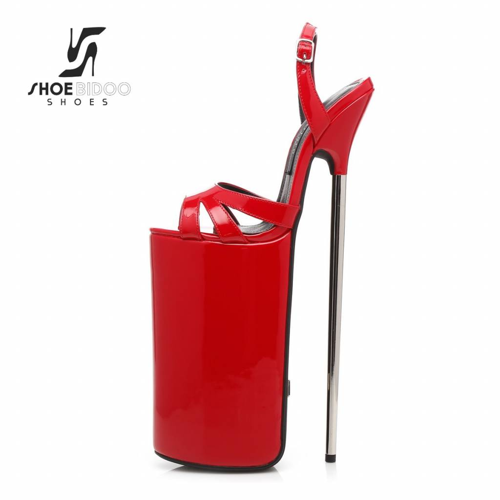 d9b9f398b5d Giaro REd patent fetish monster sandals with ultra high silver metal heels  ...