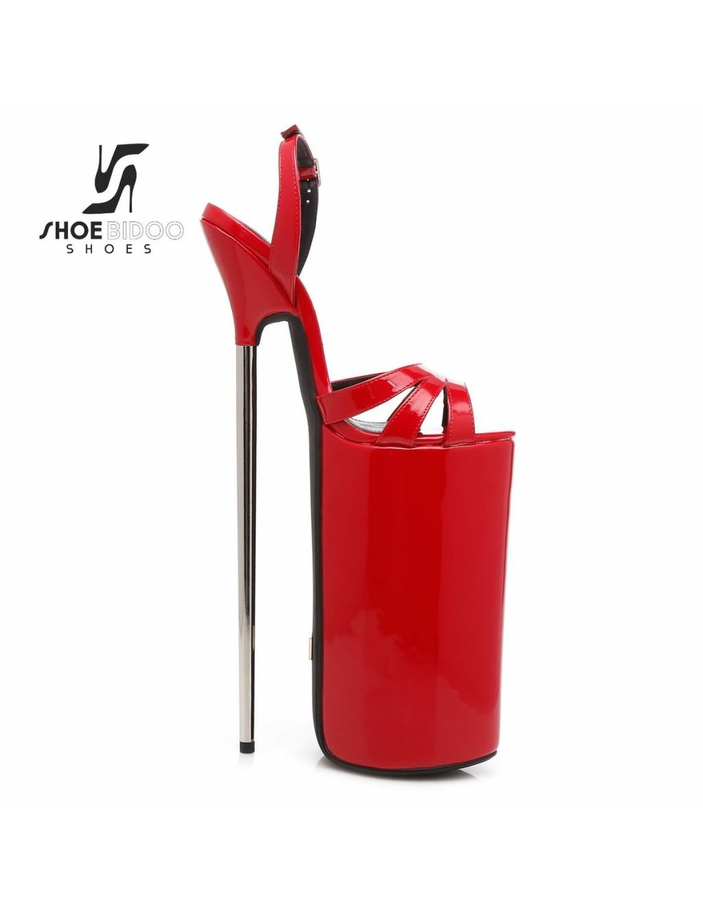Giaro REd patent fetish monster sandals with ultra high silver metal heels