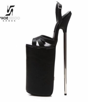 Giaro Black matte fetish monster sandals with ultra high silver metal heels