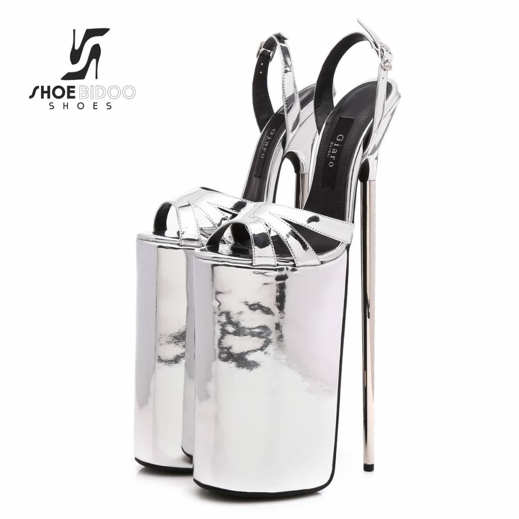 Giaro Silver patent fetish monster sandals with ultra high silver metal heels