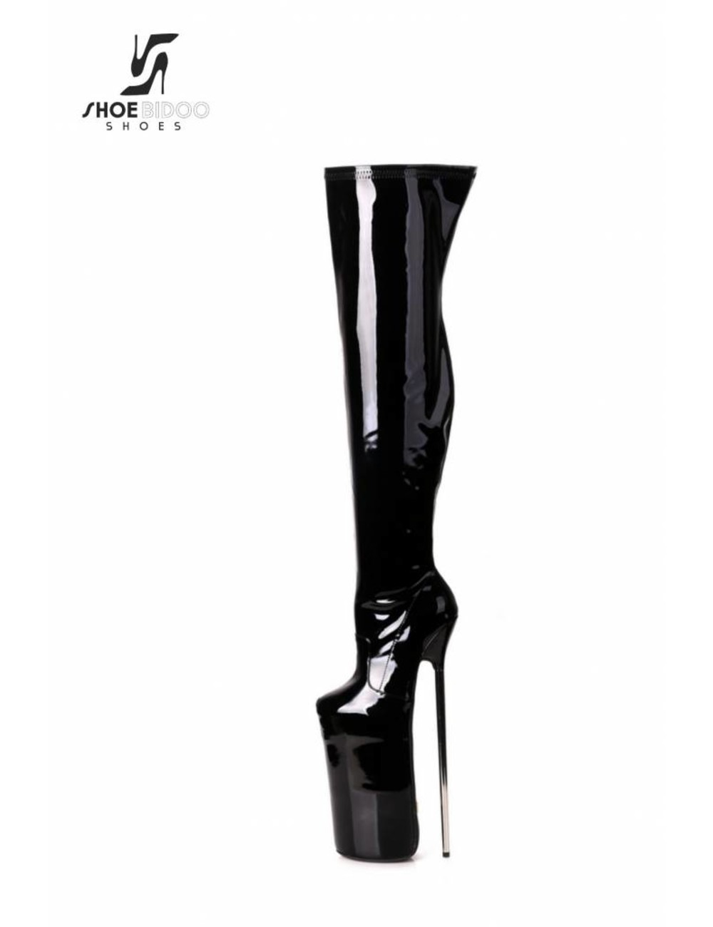 Giaro Black patent fetish monster thigh boots with ultra high silver metal heels