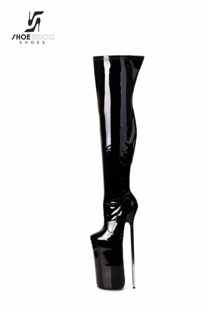 0458cb9d1c1 Black shiny Giaro monster high silver metal heels fetish boots