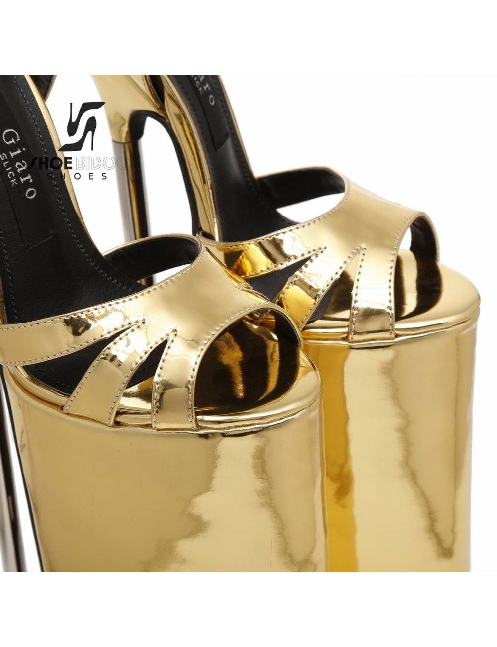 Giaro Gold patent fetish monster sandals with ultra high silver metal heels