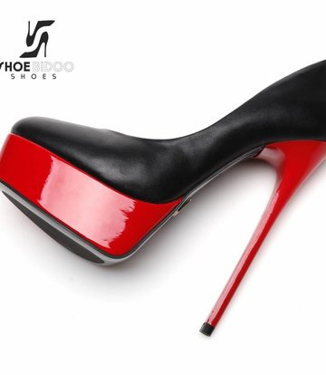 "Giaro Black and Red shiny Giaro ""Galana"" platforms pumps"
