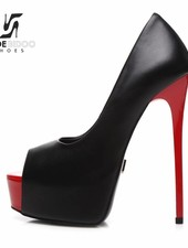 Giaro GALANA 1014 | BLACK RED SHINY | PEEPTOE PLATFORM PUMPS